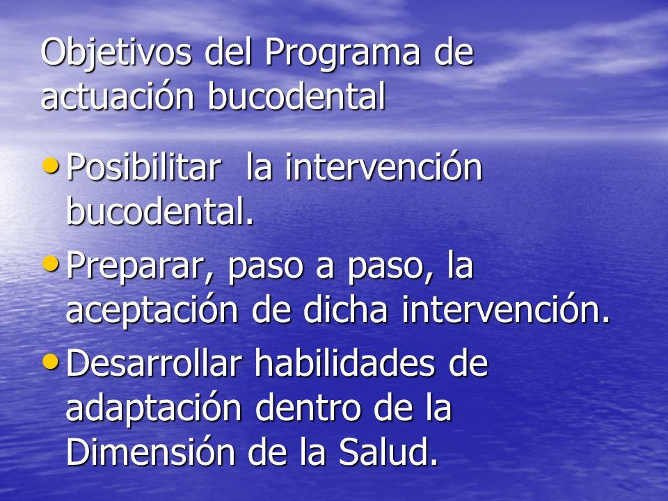 Objetivos del Programa de actuación bucodental Posibilitar la intervención bucodental. Posibilitar la intervención bucodental. Preparar, paso a paso,
