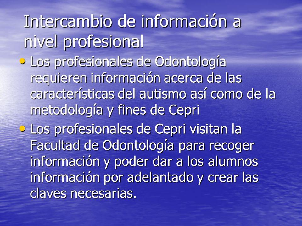 Intercambio de información a nivel profesional Los profesionales de Odontología requieren información acerca de las características del autismo así co