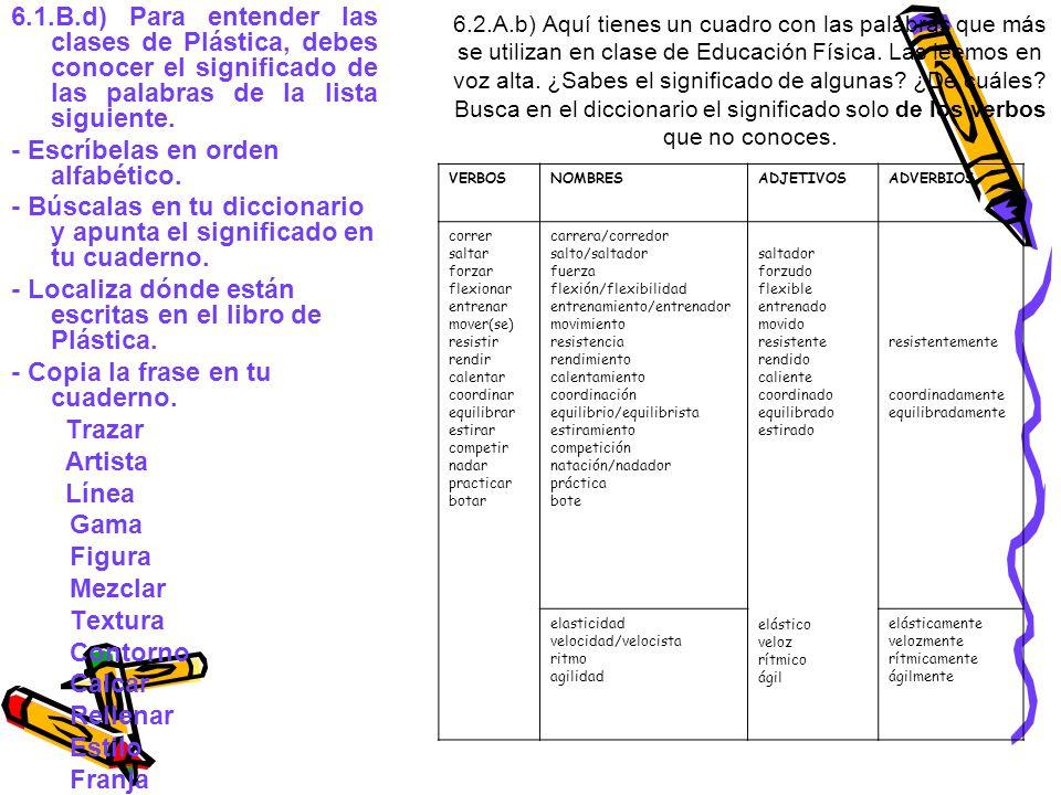 6.2.A.b) Aquí tienes un cuadro con las palabras que más se utilizan en clase de Educación Física.