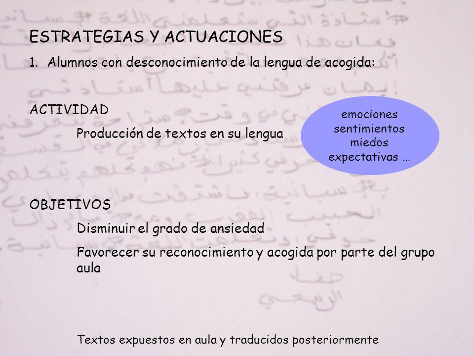 ESTRATEGIAS Y ACTUACIONES 1.Alumnos con desconocimiento de la lengua de acogida: ACTIVIDAD Producción de textos en su lengua OBJETIVOS Disminuir el gr