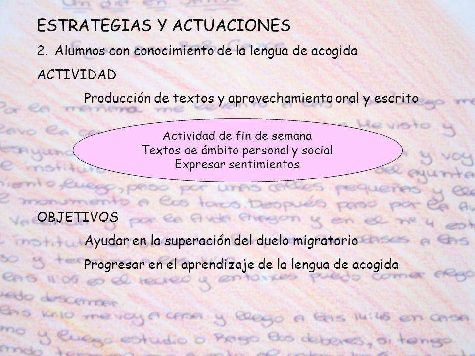 ESTRATEGIAS Y ACTUACIONES 2.Alumnos con conocimiento de la lengua de acogida ACTIVIDAD Producción de textos y aprovechamiento oral y escrito OBJETIVOS