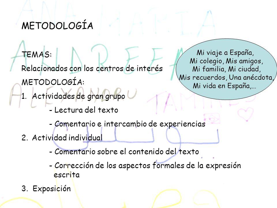 METODOLOGÍA TEMAS: Relacionados con los centros de interés METODOLOGÍA: 1.Actividades de gran grupo - Lectura del texto - Comentario e intercambio de