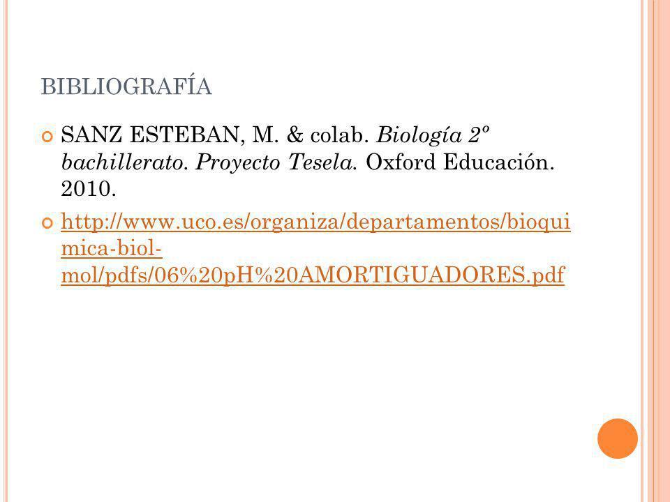 BIBLIOGRAFÍA SANZ ESTEBAN, M. & colab. Biología 2º bachillerato. Proyecto Tesela. Oxford Educación. 2010. http://www.uco.es/organiza/departamentos/bio