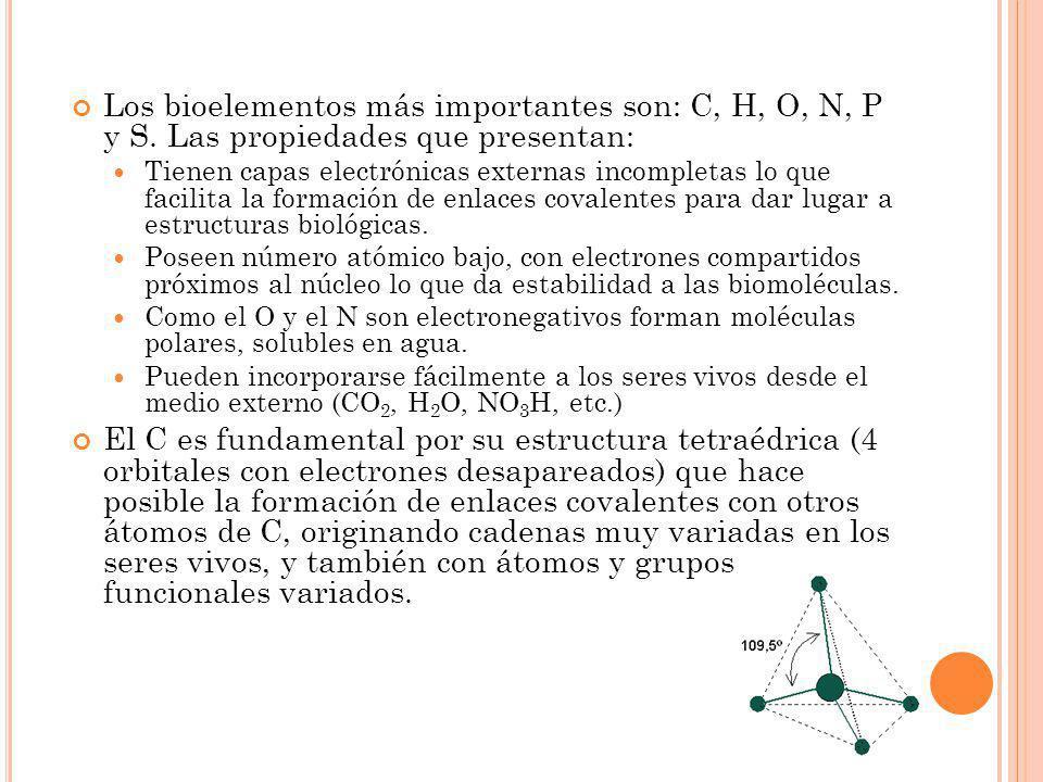 Los bioelementos más importantes son: C, H, O, N, P y S. Las propiedades que presentan: Tienen capas electrónicas externas incompletas lo que facilita