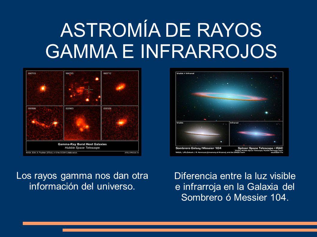 ASTROMÍA DE RAYOS GAMMA E INFRARROJOS Los rayos gamma nos dan otra información del universo.