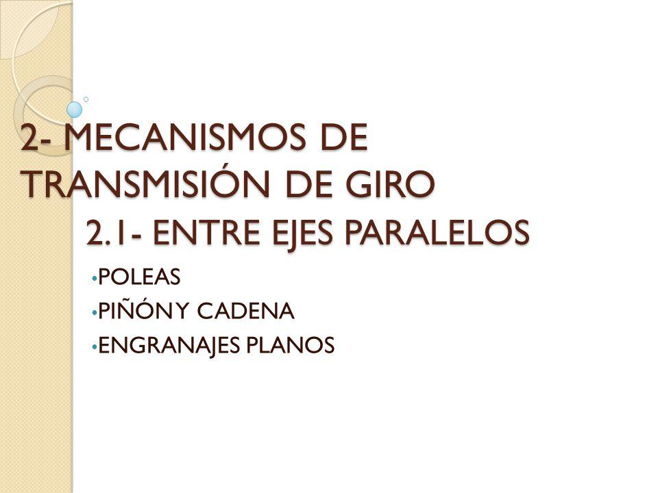 2- MECANISMOS DE TRANSMISIÓN DE GIRO 2.1- ENTRE EJES PARALELOS POLEAS PIÑÓN Y CADENA ENGRANAJES PLANOS