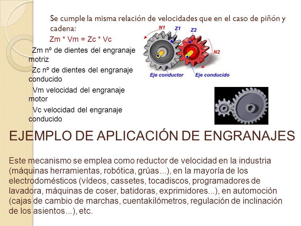 Se cumple la misma relación de velocidades que en el caso de piñón y cadena: Zm * Vm = Zc * Vc Zm nº de dientes del engranaje motriz Zc nº de dientes del engranaje conducido Vm velocidad del engranaje motor Vc velocidad del engranaje conducido EJEMPLO DE APLICACIÓN DE ENGRANAJES Este mecanismo se emplea como reductor de velocidad en la industria (máquinas herramientas, robótica, grúas...), en la mayoría de los electrodomésticos (vídeos, cassetes, tocadiscos, programadores de lavadora, máquinas de coser, batidoras, exprimidores...), en automoción (cajas de cambio de marchas, cuentakilómetros, regulación de inclinación de los asientos...), etc.