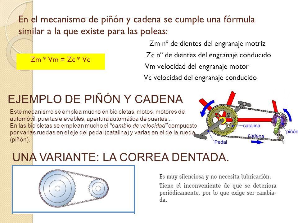 En el mecanismo de piñón y cadena se cumple una fórmula similar a la que existe para las poleas: Zm nº de dientes del engranaje motriz Zc nº de diente