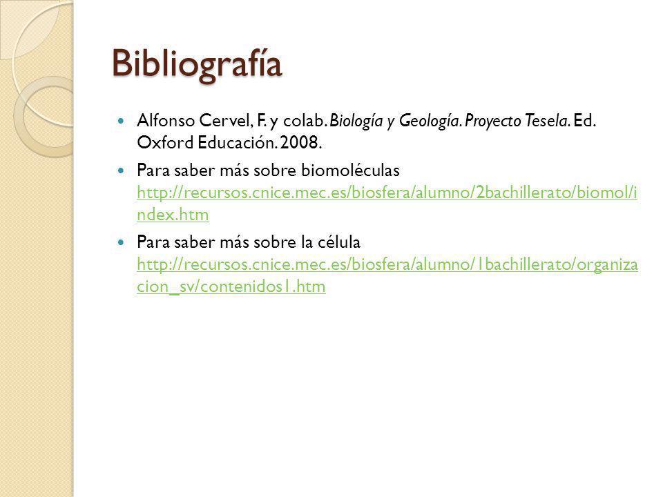 Bibliografía Alfonso Cervel, F. y colab. Biología y Geología. Proyecto Tesela. Ed. Oxford Educación. 2008. Para saber más sobre biomoléculas http://re