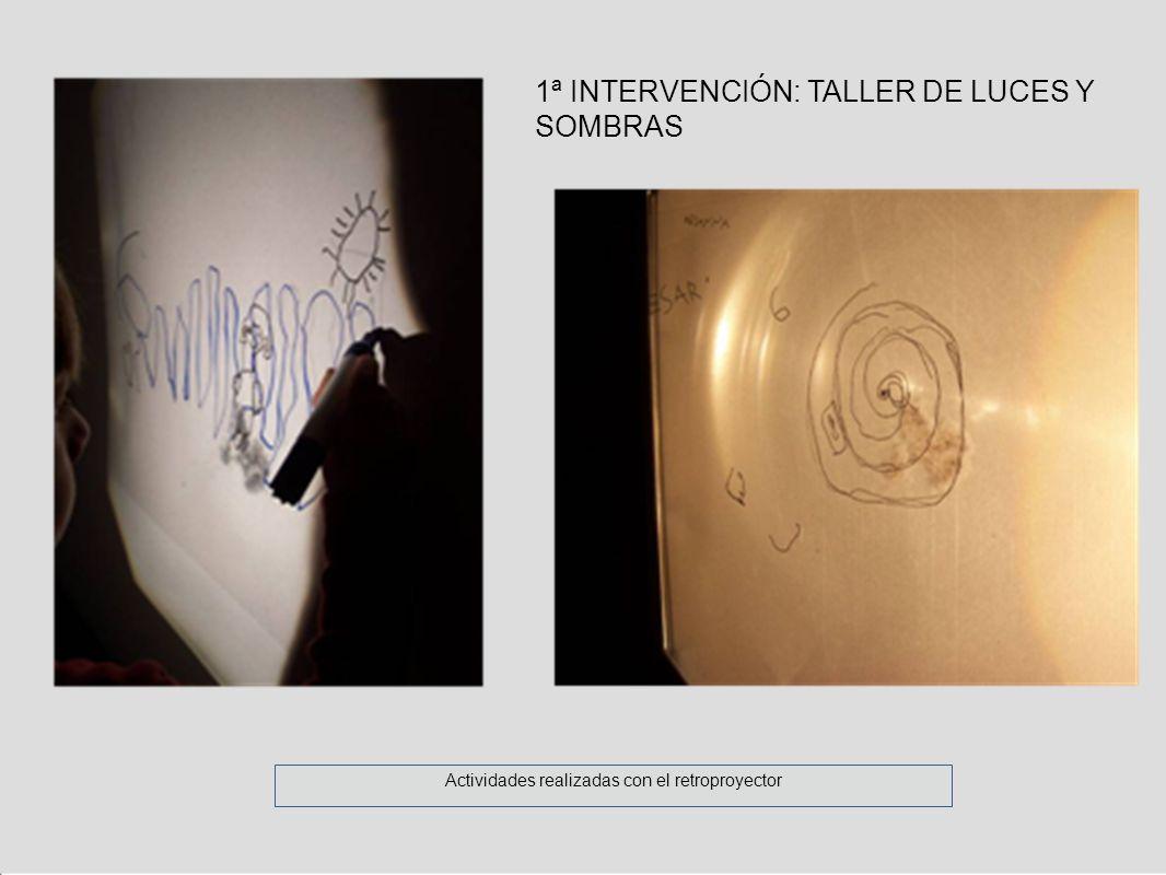 Actividades realizadas con el retroproyector 1ª INTERVENCIÓN: TALLER DE LUCES Y SOMBRAS