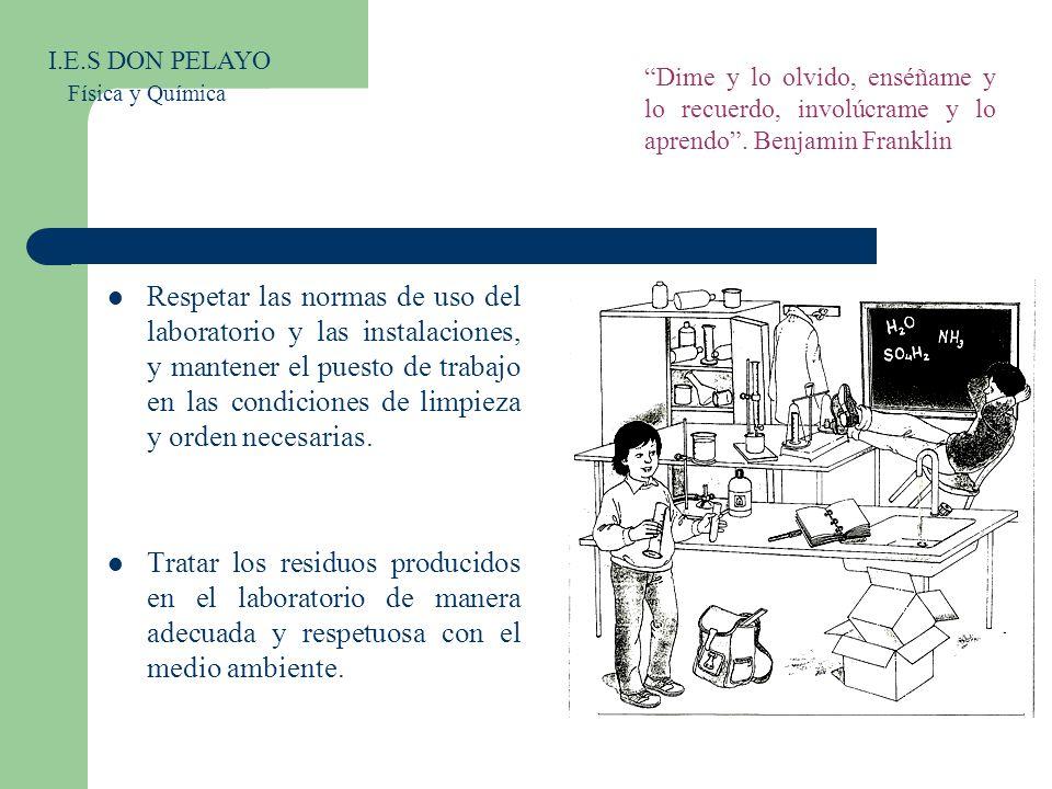 Respetar las normas de uso del laboratorio y las instalaciones, y mantener el puesto de trabajo en las condiciones de limpieza y orden necesarias. Tra