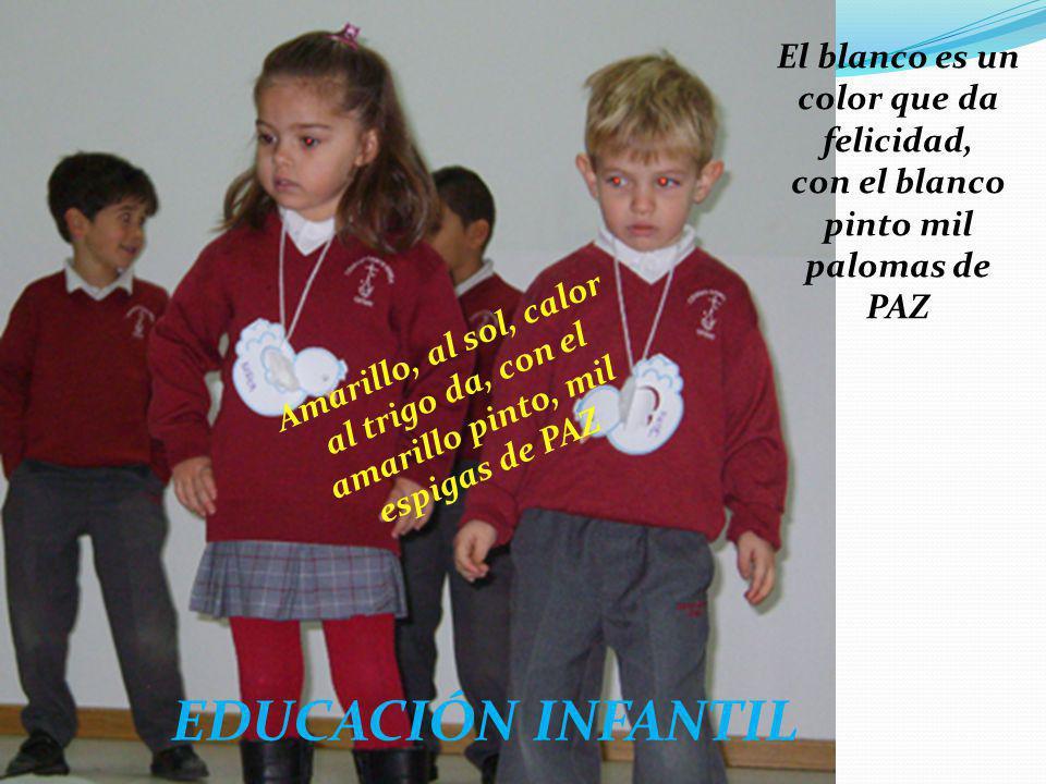EDUCACIÓN INFANTIL El blanco es un color que da felicidad, con el blanco pinto mil palomas de PAZ Amarillo, al sol, calor al trigo da, con el amarillo