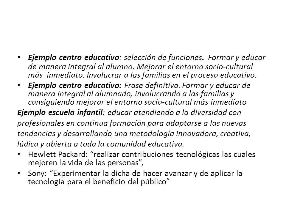 Ejemplo centro educativo: selección de funciones.Formar y educar de manera integral al alumno.