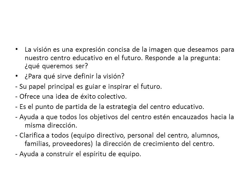 La visión es una expresión concisa de la imagen que deseamos para nuestro centro educativo en el futuro.
