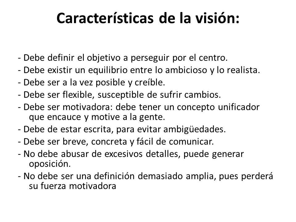Características de la visión: - Debe definir el objetivo a perseguir por el centro.