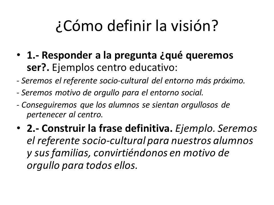 ¿Cómo definir la visión.1.- Responder a la pregunta ¿qué queremos ser?.