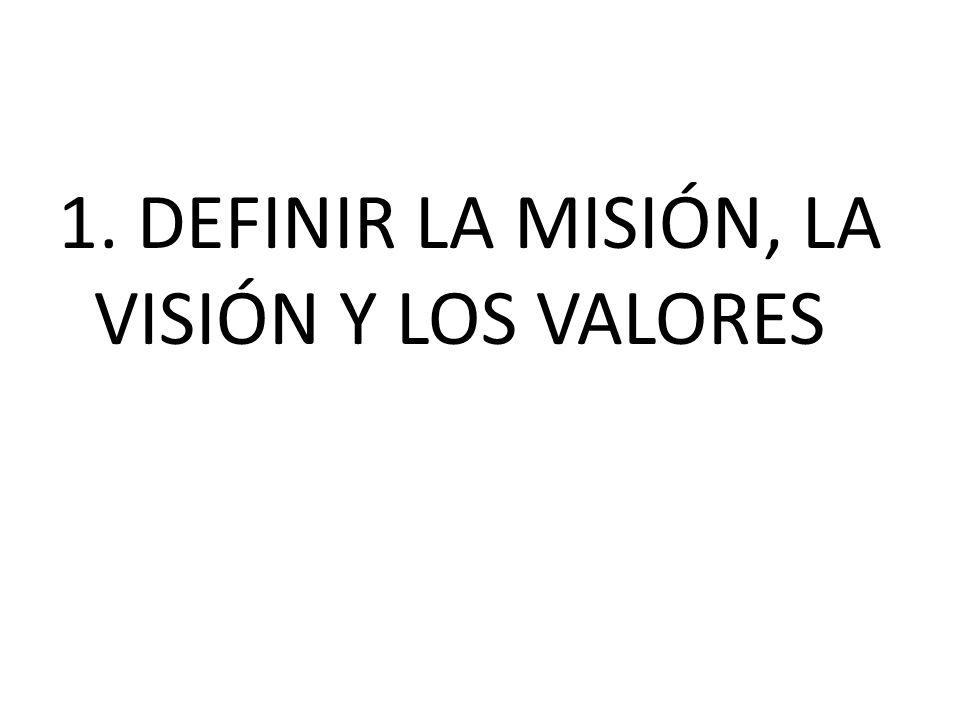1. DEFINIR LA MISIÓN, LA VISIÓN Y LOS VALORES