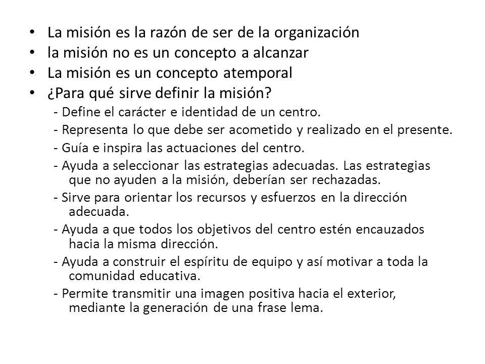 La misión es la razón de ser de la organización la misión no es un concepto a alcanzar La misión es un concepto atemporal ¿Para qué sirve definir la misión.