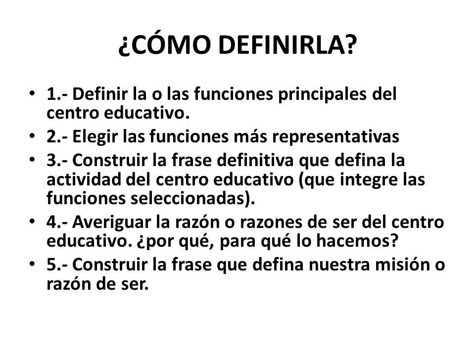 ¿CÓMO DEFINIRLA.1.- Definir la o las funciones principales del centro educativo.