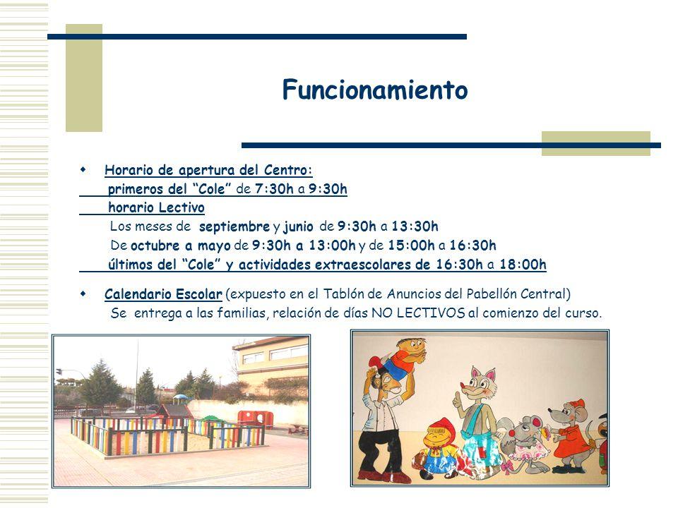 Funcionamiento Horario de apertura del Centro: primeros del Cole de 7:30h a 9:30h horario Lectivo Los meses de septiembre y junio de 9:30h a 13:30h De