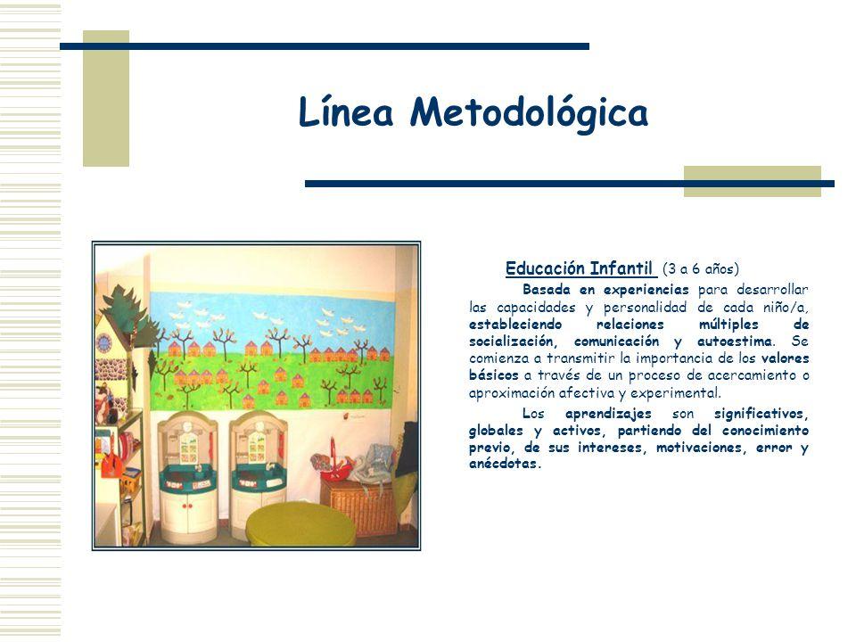 Línea Metodológica Educación Infantil (3 a 6 años) Basada en experiencias para desarrollar las capacidades y personalidad de cada niño/a, estableciend