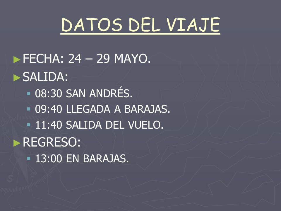 DATOS DEL VIAJE FECHA: 24 – 29 MAYO.SALIDA: 08:30 SAN ANDRÉS.