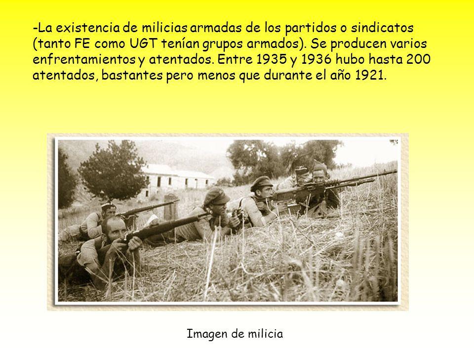 -La existencia de milicias armadas de los partidos o sindicatos (tanto FE como UGT tenían grupos armados).