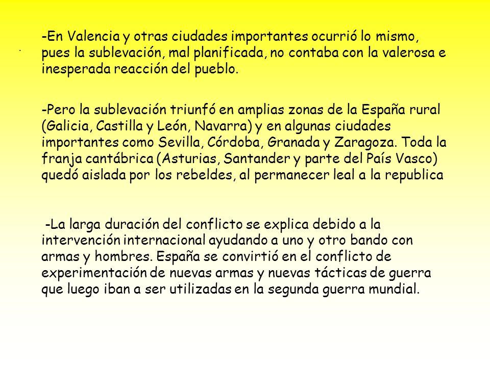 -En Valencia y otras ciudades importantes ocurrió lo mismo, pues la sublevación, mal planificada, no contaba con la valerosa e inesperada reacción del pueblo.