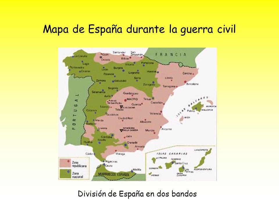 Mapa de España durante la guerra civil División de España en dos bandos