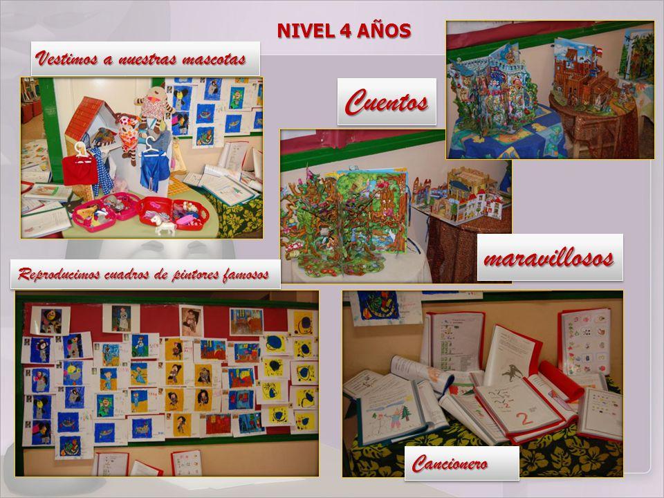 NIVEL 4 AÑOS Vestimos a nuestras mascotas Reproducimos cuadros de pintores famosos CancioneroCancionero CuentosCuentos maravillososmaravillosos