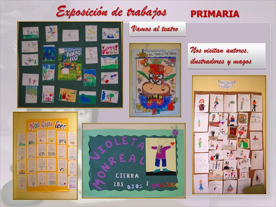 Exposición de trabajos PRIMARIA Vamos al teatro Nos visitan autores, ilustradores y magos