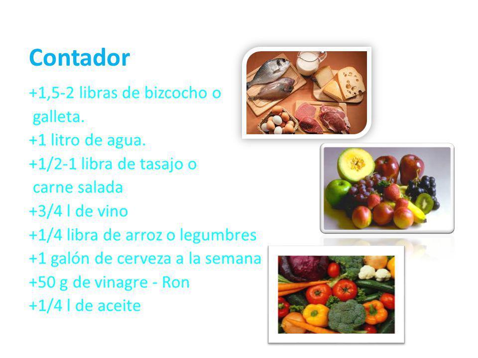 Contador +1,5-2 libras de bizcocho o galleta. +1 litro de agua. +1/2-1 libra de tasajo o carne salada +3/4 l de vino +1/4 libra de arroz o legumbres +