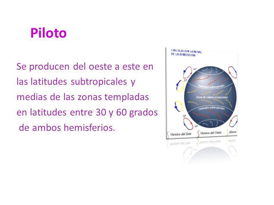 Piloto Se producen del oeste a este en las latitudes subtropicales y medias de las zonas templadas en latitudes entre 30 y 60 grados de ambos hemisfer
