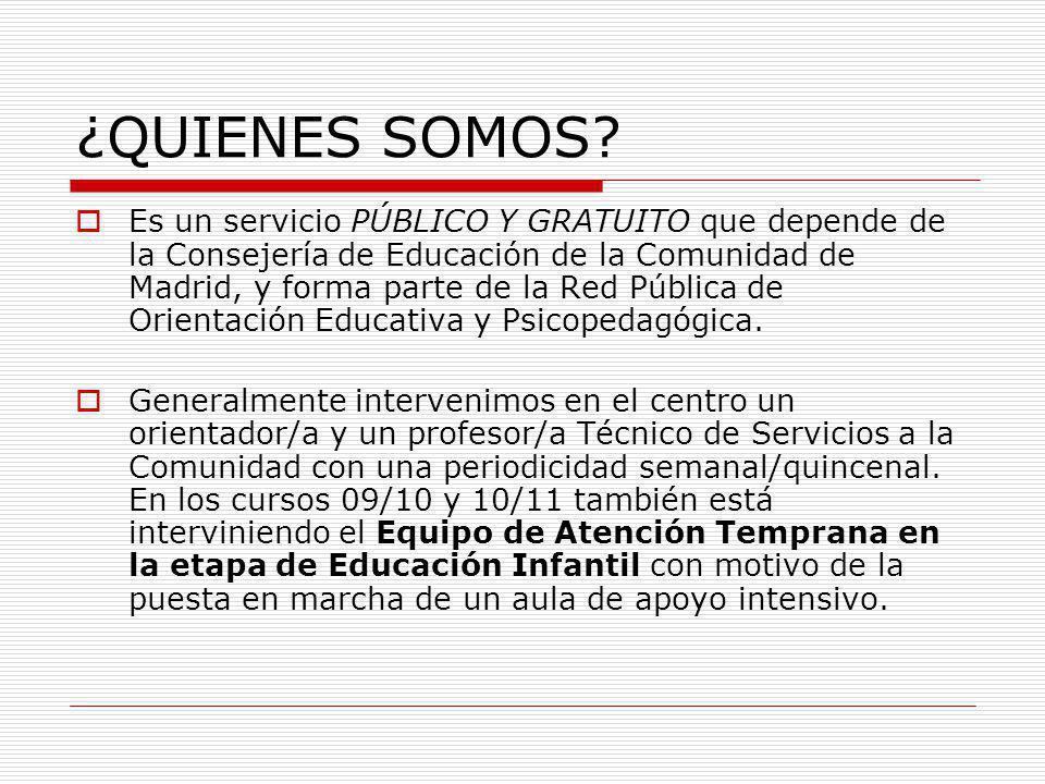 ¿QUIENES SOMOS? Es un servicio PÚBLICO Y GRATUITO que depende de la Consejería de Educación de la Comunidad de Madrid, y forma parte de la Red Pública