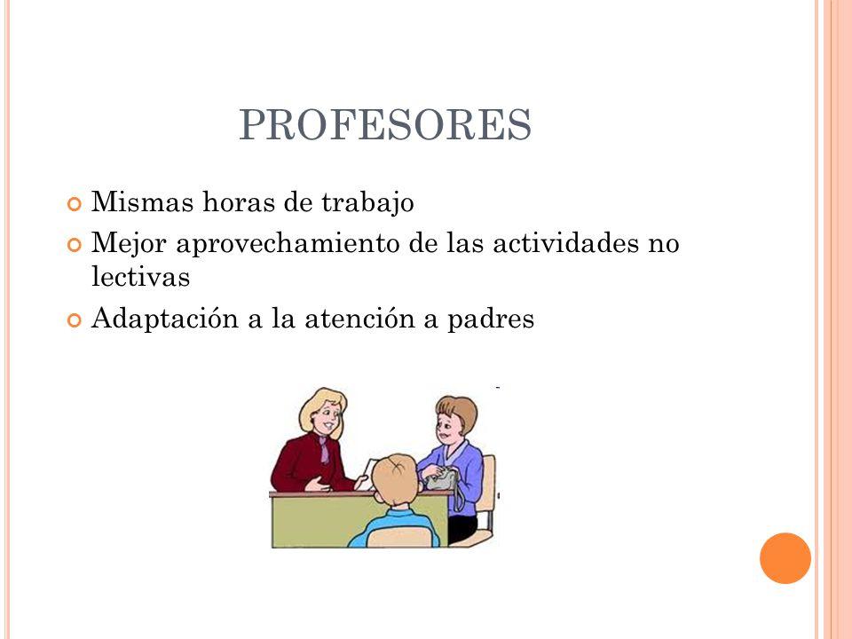 Mismas horas de trabajo Mejor aprovechamiento de las actividades no lectivas Adaptación a la atención a padres PROFESORES