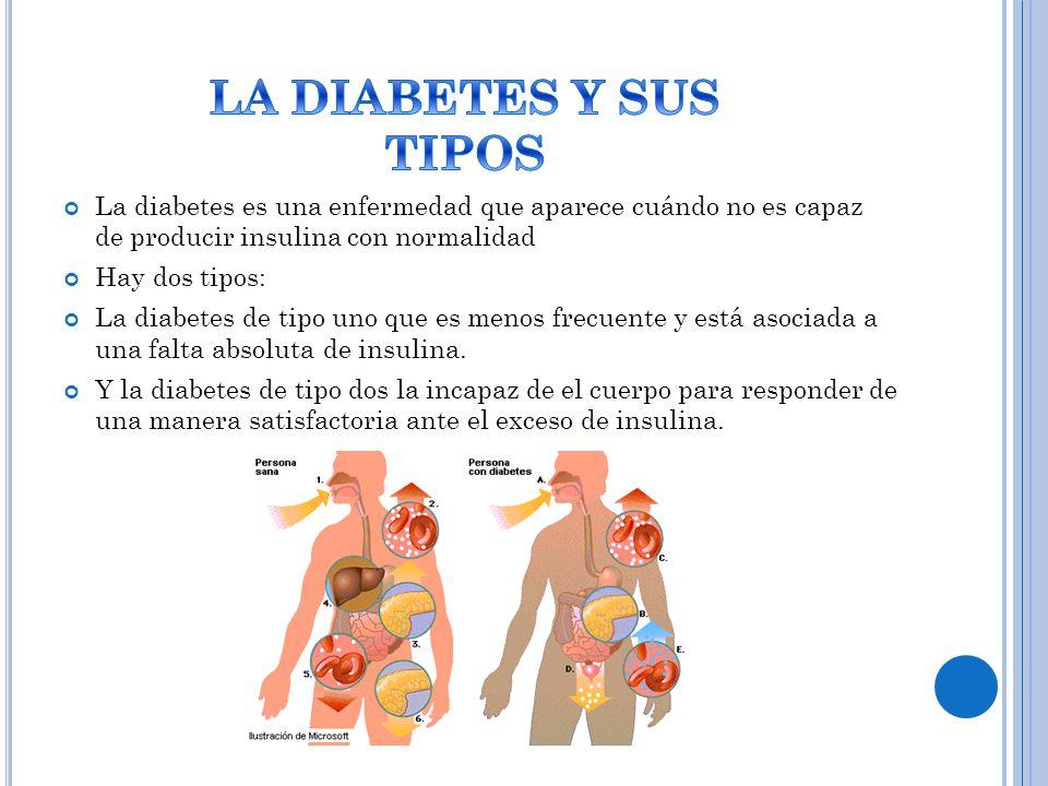 La diabetes es una enfermedad que aparece cuándo no es capaz de producir insulina con normalidad Hay dos tipos: La diabetes de tipo uno que es menos frecuente y está asociada a una falta absoluta de insulina.
