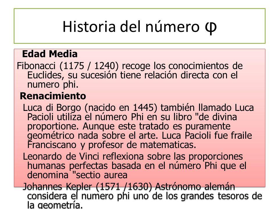 Historia del número φ Edad Media Fibonacci (1175 / 1240) recoge los conocimientos de Euclides, su sucesión tiene relación directa con el numero phi.