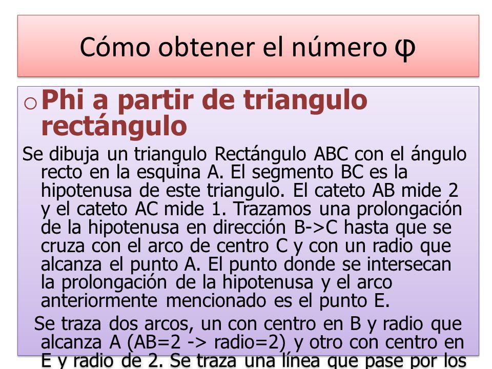 Cómo obtener el número φ o Phi a partir de triangulo rectángulo Se dibuja un triangulo Rectángulo ABC con el ángulo recto en la esquina A.
