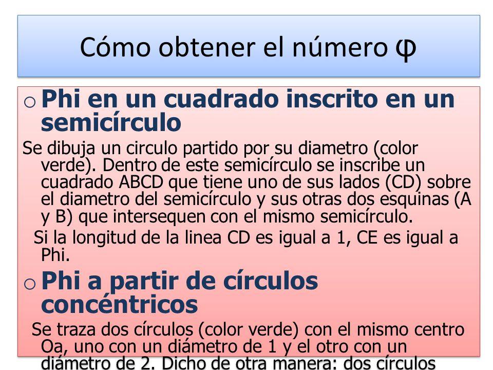 Cómo obtener el número φ o Phi en un cuadrado inscrito en un semicírculo Se dibuja un circulo partido por su diametro (color verde).