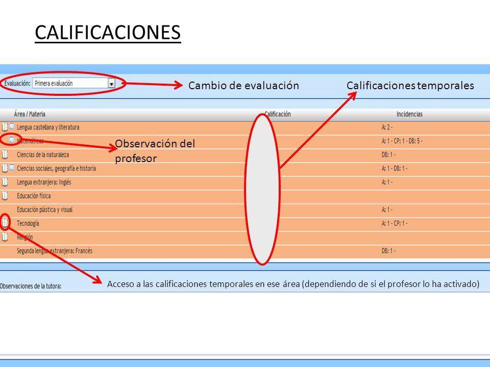 Cambio de evaluación Acceso a las calificaciones temporales en ese área (dependiendo de si el profesor lo ha activado) Observación del profesor Calificaciones temporales