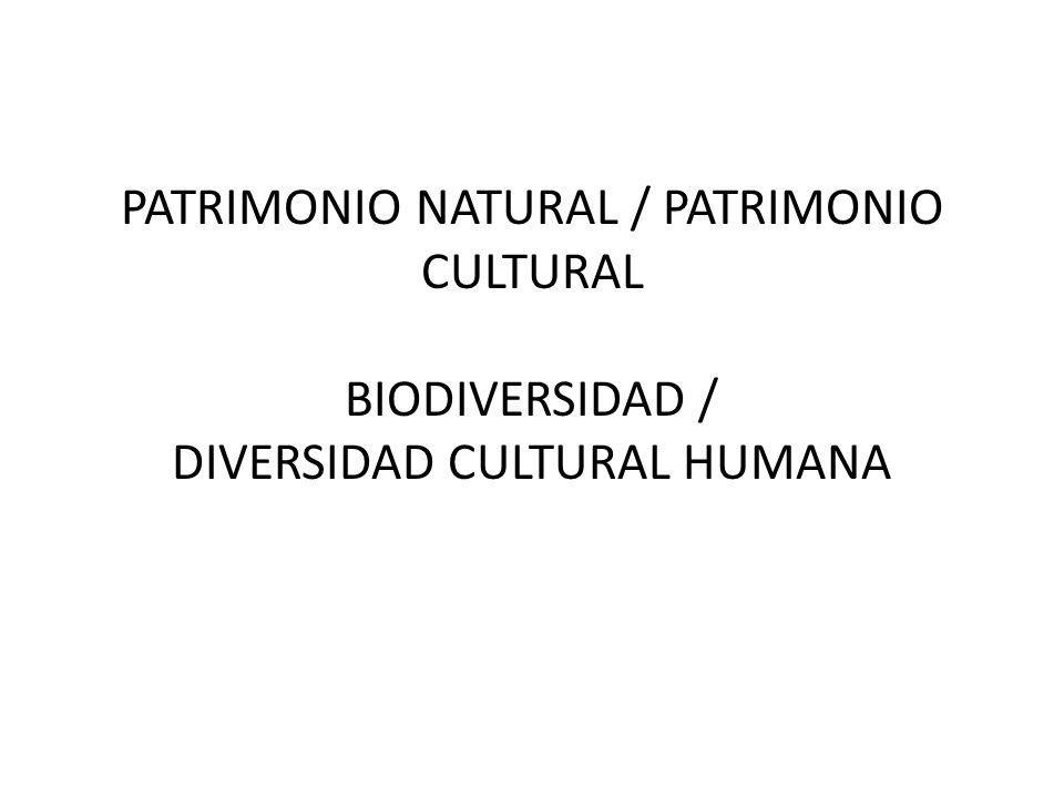 PATRIMONIO NATURAL / PATRIMONIO CULTURAL BIODIVERSIDAD / DIVERSIDAD CULTURAL HUMANA