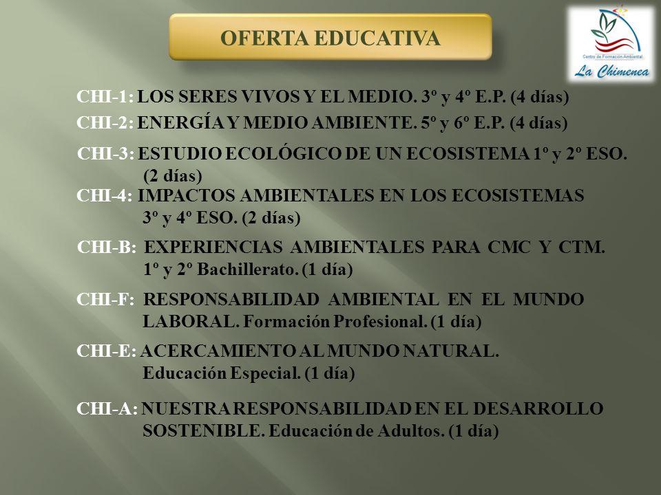 OFERTA EDUCATIVA CHI-1: LOS SERES VIVOS Y EL MEDIO. 3º y 4º E.P. (4 días) CHI-2: ENERGÍA Y MEDIO AMBIENTE. 5º y 6º E.P. (4 días) CHI-3: ESTUDIO ECOLÓG