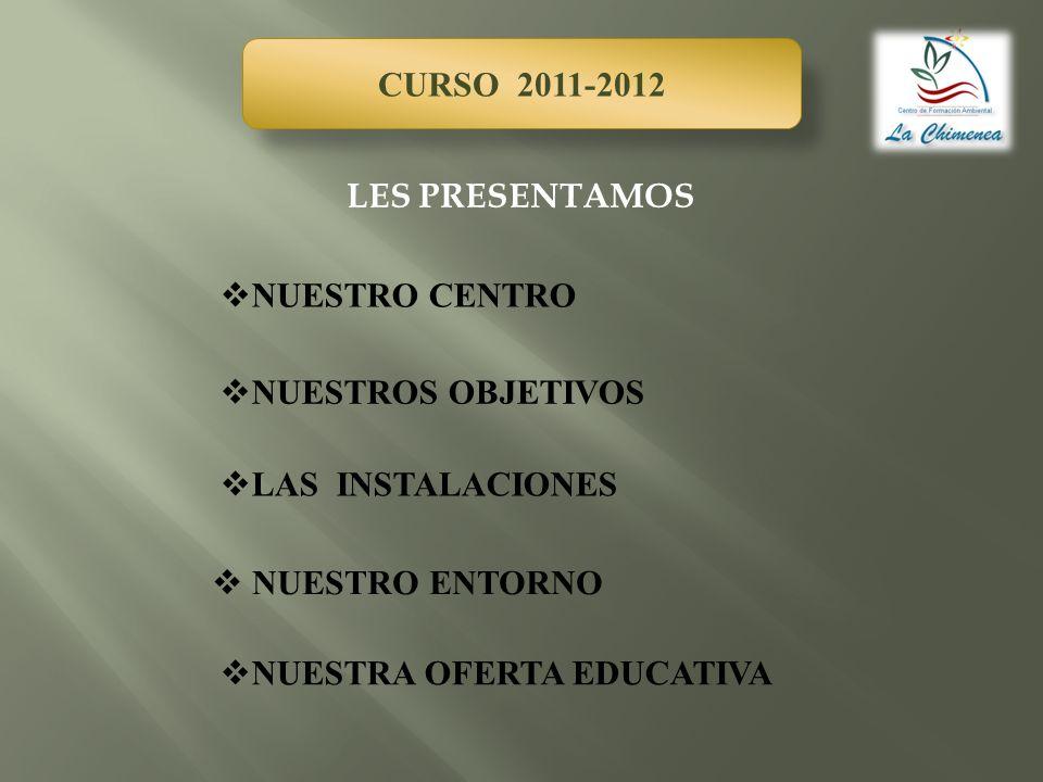 CURSO 2011-2012 NUESTROS OBJETIVOS LAS INSTALACIONES NUESTRA OFERTA EDUCATIVA NUESTRO CENTRO NUESTRO ENTORNO LES PRESENTAMOS