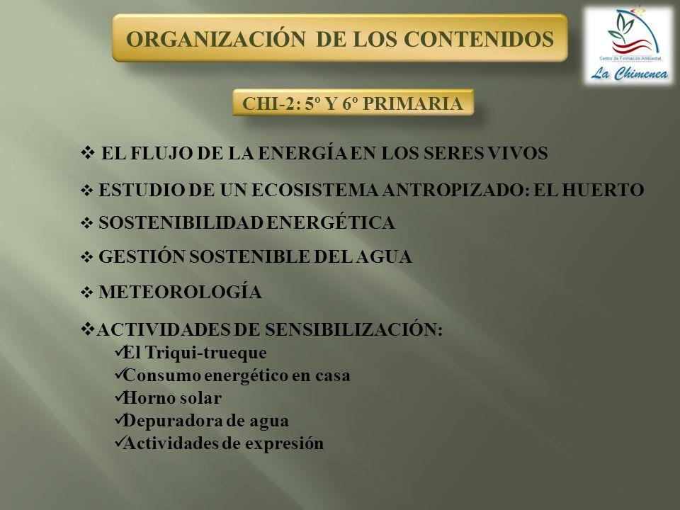ORGANIZACIÓN DE LOS CONTENIDOS CHI-2: 5º Y 6º PRIMARIA EL FLUJO DE LA ENERGÍA EN LOS SERES VIVOS ESTUDIO DE UN ECOSISTEMA ANTROPIZADO: EL HUERTO SOSTE