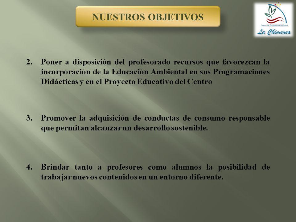 NUESTROS OBJETIVOS 2.Poner a disposición del profesorado recursos que favorezcan la incorporación de la Educación Ambiental en sus Programaciones Didá