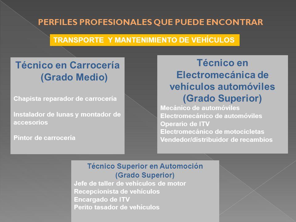 TRANSPORTE Y MANTENIMIENTO DE VEHÍCULOS Técnico en Carrocería (Grado Medio) Chapista reparador de carrocería Instalador de lunas y montador de accesorios Pintor de carrocería Técnico en Electromecánica de vehículos automóviles (Grado Superior) Mecánico de automóviles Electromecánico de automóviles Operario de ITV Electromecánico de motocicletas Vendedor/distribuidor de recambios Técnico Superior en Automoción (Grado Superior) Jefe de taller de vehículos de motor Recepcionista de vehículos Encargado de ITV Perito tasador de vehículos PERFILES PROFESIONALES QUE PUEDE ENCONTRAR