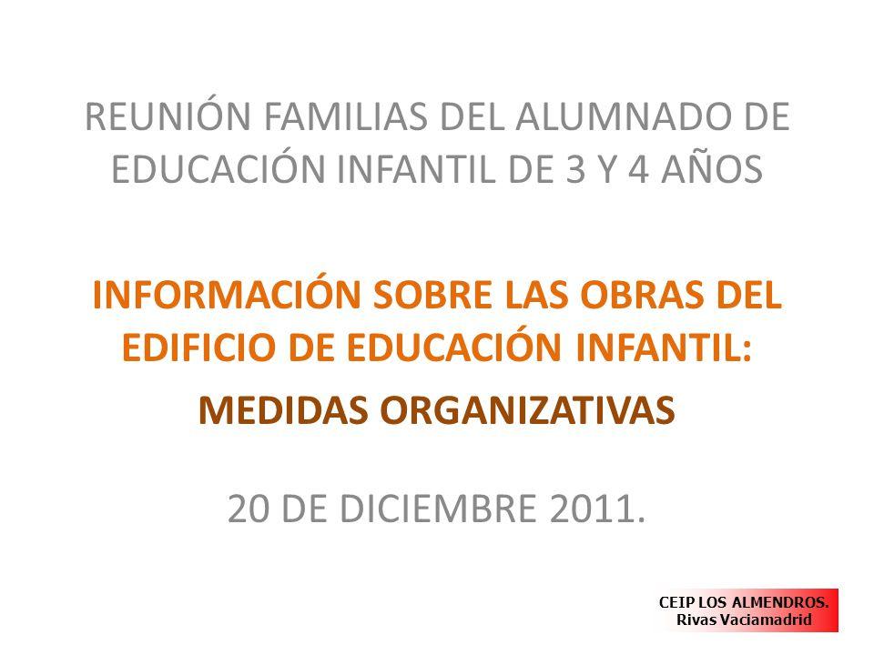 REUNIÓN FAMILIAS DEL ALUMNADO DE EDUCACIÓN INFANTIL DE 3 Y 4 AÑOS INFORMACIÓN SOBRE LAS OBRAS DEL EDIFICIO DE EDUCACIÓN INFANTIL: MEDIDAS ORGANIZATIVA