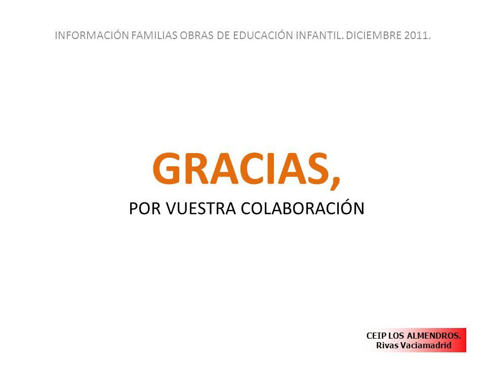 GRACIAS, POR VUESTRA COLABORACIÓN INFORMACIÓN FAMILIAS OBRAS DE EDUCACIÓN INFANTIL. DICIEMBRE 2011. CEIP LOS ALMENDROS. Rivas Vaciamadrid