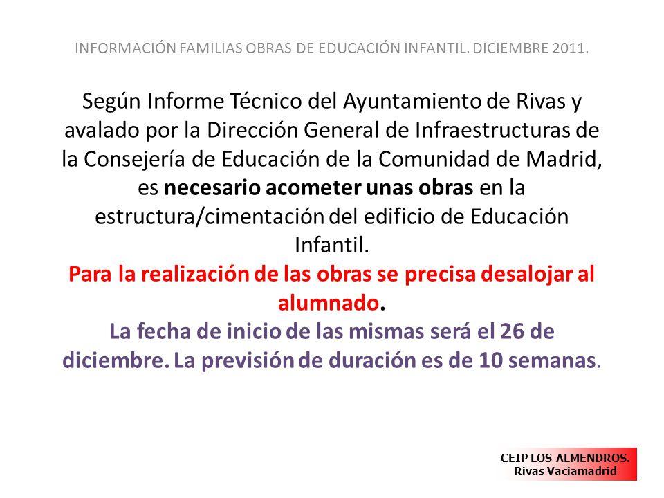 Según Informe Técnico del Ayuntamiento de Rivas y avalado por la Dirección General de Infraestructuras de la Consejería de Educación de la Comunidad d