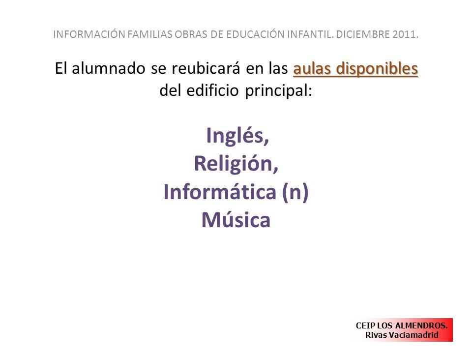 aulas disponibles El alumnado se reubicará en las aulas disponibles del edificio principal: Inglés, Religión, Informática (n) Música INFORMACIÓN FAMIL